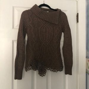 Asymmetrical Wool Sweater with Button Detail